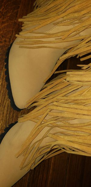 Cape robbin brand new thigh high leather 3 layer fringe flat heel boots for Sale in Abilene, TX