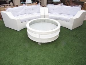 New White Outdoor Wicker Sectional Sofa White/White Round Patio Furniture Viro for Sale in Las Vegas, NV