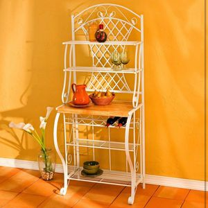 Chic baker's rack offers four slatted shelves, five wine bottle holders, and laminated counter space retails at $200.00 plus shipping for Sale in Garden Grove, CA