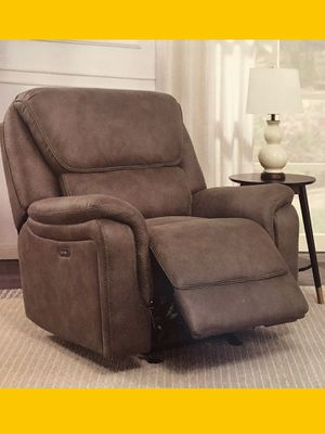 Electronic Power Recliner Glider Chair with USB port in Grey Suede for Sale in Peachtree Corners, GA