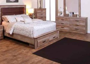 Queen bed frame. Dresser. Mirror and one night stand. 2XFKE for Sale in La Verne, CA