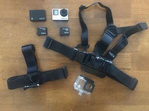 Gopro Hero 4 Black w/Case Headstrap Chestmount BatteryBacPac 2-Batteries 2-Cords for Sale in Bowie, MD