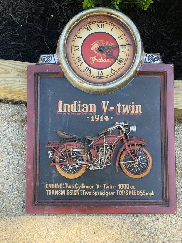 """Indian Motorcycles """"V-Twin 1914"""" 3D Faux Wooden Wall Hanging / Picture W/ Clock"""