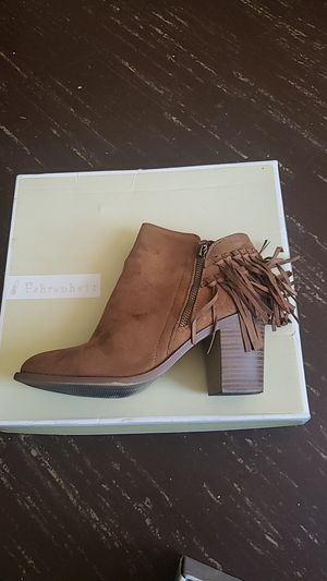Fringed wheat colored lady short booties for Sale in Chicago, IL
