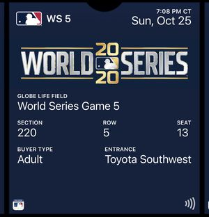 World Series Game 5 - 2 tickets for Sale in Arlington, TX