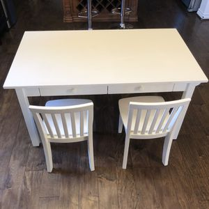 Pottery Barn Kids Children's White Wood Carolina Grow Craft Table Desk Drawers Storage & 2 Chairs for Sale in Irvine, CA