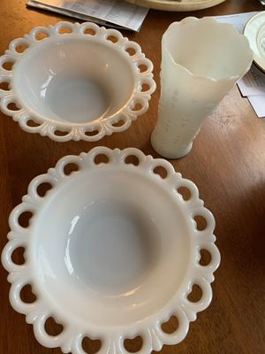 Milk glass bowls and vase for Sale in Portland, OR
