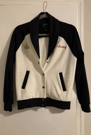 Stussy baseball jacket black and white for Sale in Aspen Hill, MD