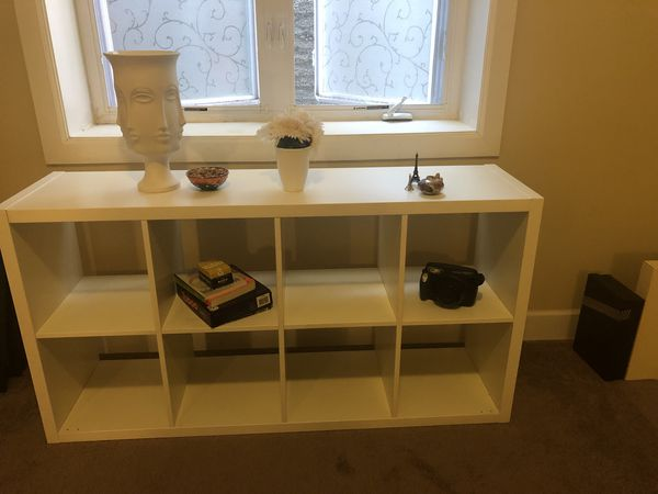 White shelved bookcase