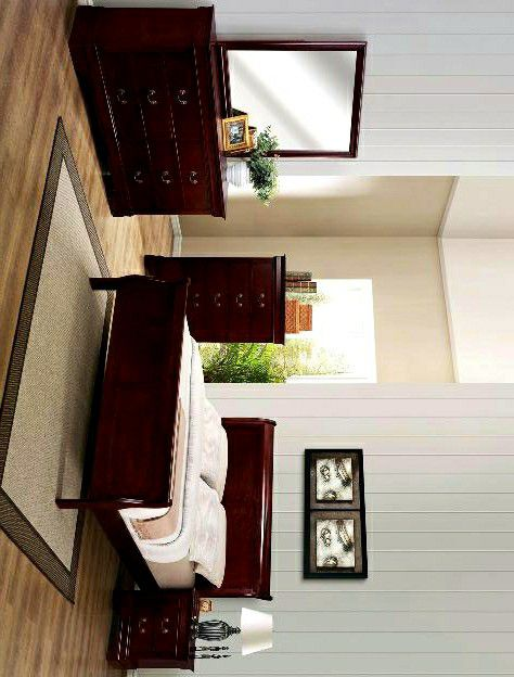 Louis Philip Cherry 4 PIECE QUEEN BEDROOM SET (Bed frame, dresser, nightstand and mirror included) chest optional