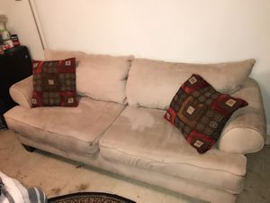 Beige couch with pillows for Sale in Severn, MD
