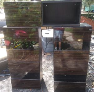 3 Piece IKEA Wood and Glass Wall Hanging Shelving Units for Sale in Union Park, FL