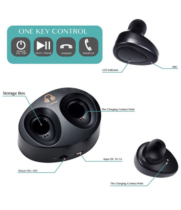 True Wireless Earbuds with Microphone for Running - Rechargeable Smart Phone Bluetooth Earphones with Mic - Sweatproof Cordless Sports Headphones for