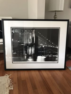 Large Pottery Barn Framed Print of the Brooklyn Bridge for Sale in MARTINS ADD, MD