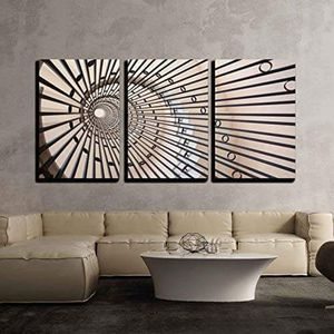 """3 Piece Canvas Wall Art - View of a Spiral Staircase - Modern Home Decor Stretched and Framed Ready to Hang - 24""""x36""""x3 Panels for Sale in New York, NY"""