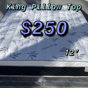 BRAND NEW PILLOW TOP MATTRESSES💯 Warranty/Garantía ‼️⚠️ $20 Delivery Fee ‼️ ✅ LOCATED IN LOS ANGELES CA ✅ (EK/CK )King Mattress $250 ❌ $330 With for Sale in West Hollywood, CA