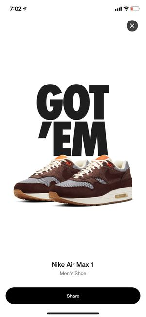 Nike Air max 1 Bronze eclipse size 6 men's for Sale in Pasadena, CA