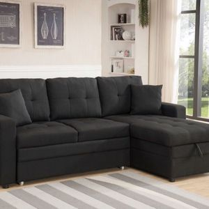 Black Linen Pull Out Sectional Sofa Reversible Chaise for Sale in Pomona, CA