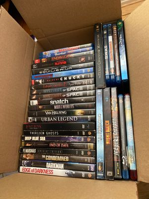 Box of Blu-ray movies and dvds. $10 for the whole box for Sale in Lakewood, CA