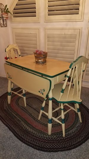 Vintage country Farmhouse enamel top table and 2 chairs for Sale in Peoria, AZ