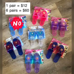 Disney princess shoes slippers- 6 pairs for Sale in South El Monte, CA