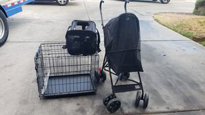 Doggie stroller $30, bag $8 and folded cage $15 for small dogs for Sale in Las Vegas, NV