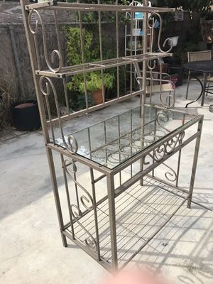 Metal baker rack with glass for Sale in Los Angeles, CA