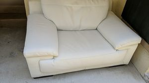 2 couches. Real leather white couch and outdoor wood futon for Sale in Redondo Beach, CA