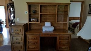 Solid oak desk and file cabinet for Sale in Perham, MN