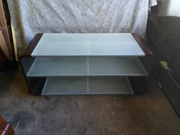 "3 Tier 52"" TV Stand Enterptaiment Center Glass"