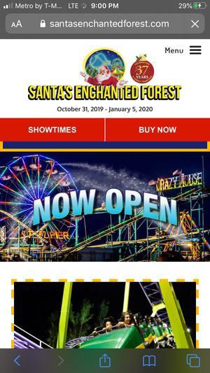 4 tickets to Santa's Enchanted Forest for Sale in Carol City, FL