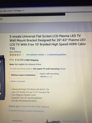 LED tv wall mount bracket for Sale in Chantilly, VA