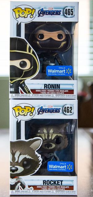 Funko Pop! Avengers Endgame Walmart Exclusives Ronin & Rocket Raccoon Set - $20 for both for Sale in Goodyear, AZ