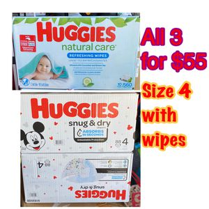 huggies size 4 diapers with wipes bundle for Sale in Oakland, CA