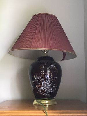 Electric beautifully floral painted night lamp with golden bottom for Sale in Ellicott City, MD