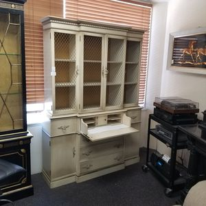 Reduced. Vintage farmhouse rustic off-white cabinet with display hutch and secretary desk pull down for Sale in La Mesa, CA
