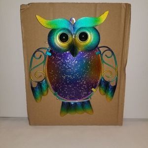 Colorful Metal And Glass Owl Wall Decor for Sale in Riverview, FL