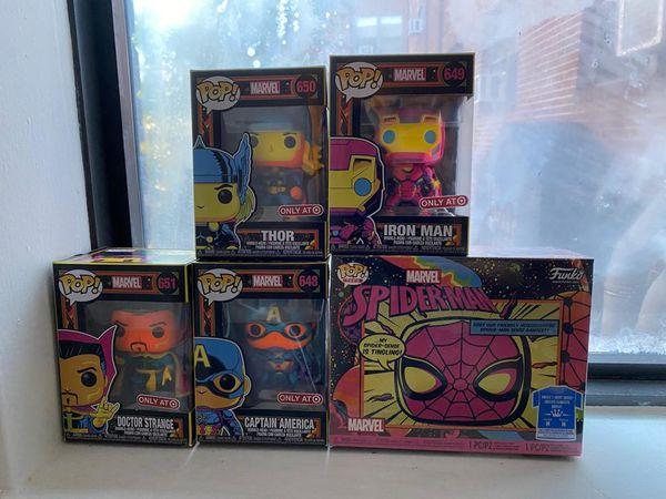 Funko POP Marvel Black Light Exclusive Complete Set of 5