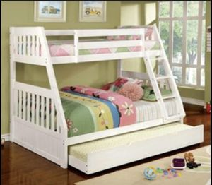 NEW BUNK BED FULL TWIN WITH TRUNDLE BED AND MATTRESS INCLUDED ALL NEW for Sale in Hollywood, FL
