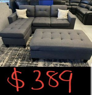 grey linen sectional sofa with ottoman +2pillows reversible convertible sleeper couch for Sale in Fontana, CA
