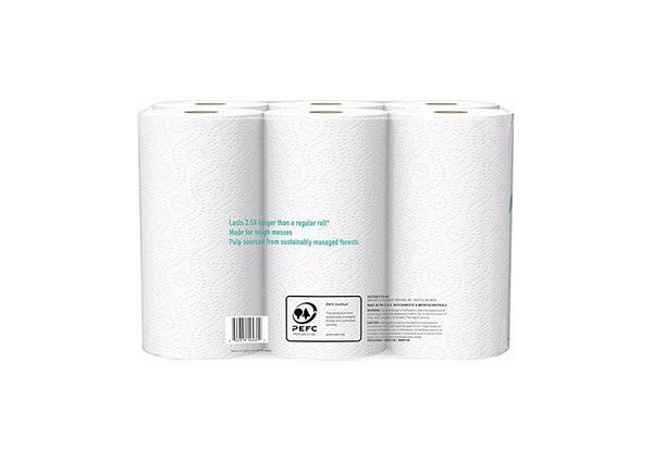 Amazon Brand - Presto! Flex-a-Size Paper Towels, Huge Roll, 6 Count = 15 Regular Rolls