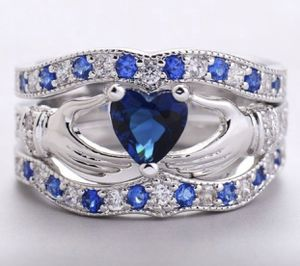 3PCS 925 Sterling Silver Claddagh Ring Set Natural Gemstone Heart Cut Clear Sapphire Diamond Wedding Engagment Ring set size 9 for Sale in Moreno Valley, CA