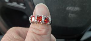 Silver with three rubies 20 small diamonds ring for Sale in Pleasant Hill, IA