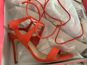 Just Fab Red Strappy Ankle Tie Heels for Sale in San Jose, CA