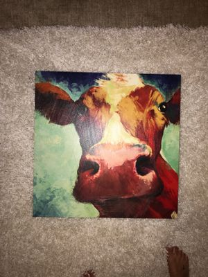 Cow Painting on Canvas with a little texture for Sale in Woodway, WA