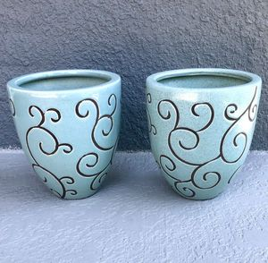 2 NEW Hand - Painted Flower Pots with River Rocks for Sale in Seminole, FL