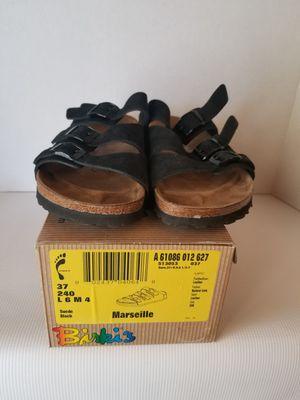 Birkenstock Birkis Sandals Marseille Black Slip-on Suede 3 Strap Sz 37 W7. for Sale in Waddell, AZ