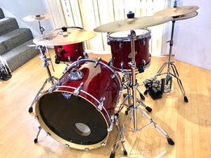 Ludwig Accest CS Custom red lacquer Jazz drum set DW double pedal Yamaha steel snare Zildjian meinl Sabian Camber cymbals PDP throne $775 in Ontario for Sale in Ontario, CA