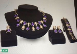 4pcs Purple Gem 18K Gold Plated Wedding Jewelry Set for Sale in Kissimmee, FL