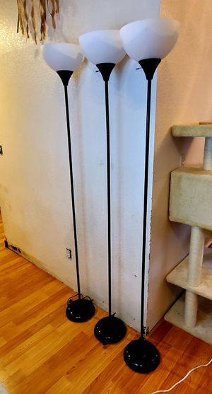 3 Floor lamps with fluorescent light bulbs for Sale in Lacey, WA